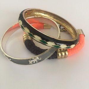 J Crew enamel and fabric bangle bracelets lot of 3